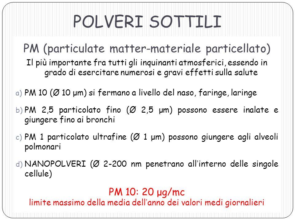 POLVERI SOTTILI PM (particulate matter-materiale particellato)
