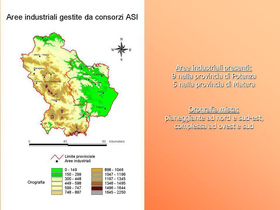 Aree industriali presenti: 9 nella provincia di Potenza