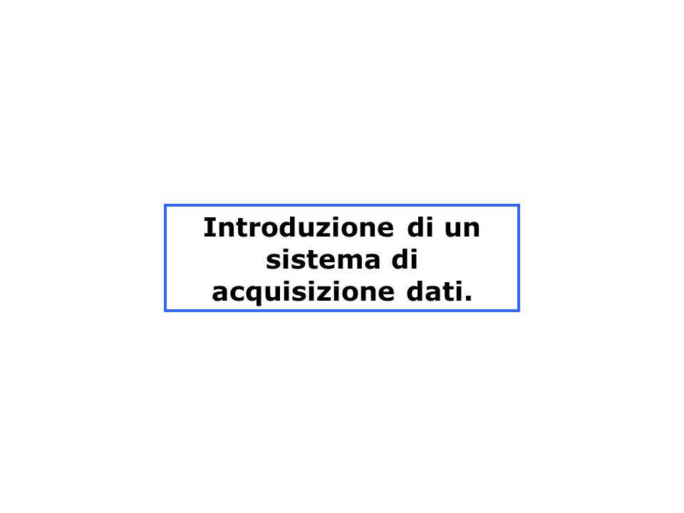 Introduzione di un sistema di acquisizione dati.