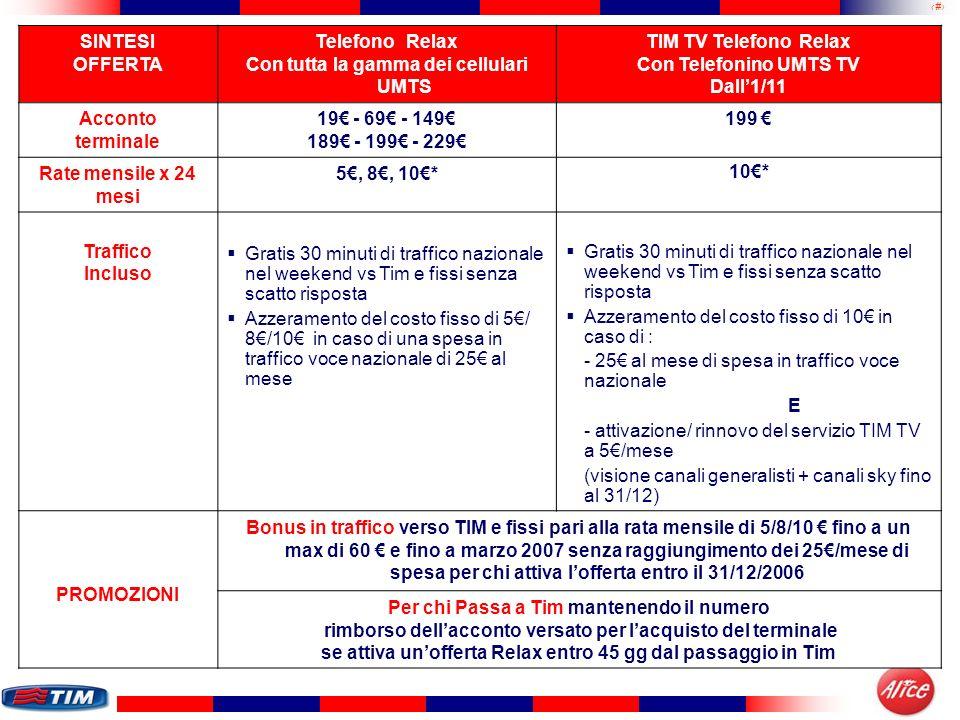 Con tutta la gamma dei cellulari UMTS TIM TV Telefono Relax