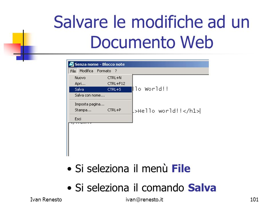 Salvare le modifiche ad un Documento Web