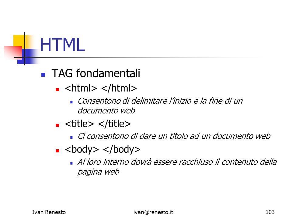 HTML TAG fondamentali <html> </html>