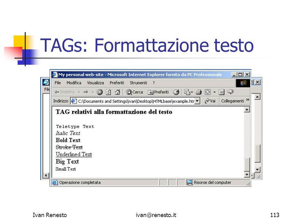 TAGs: Formattazione testo