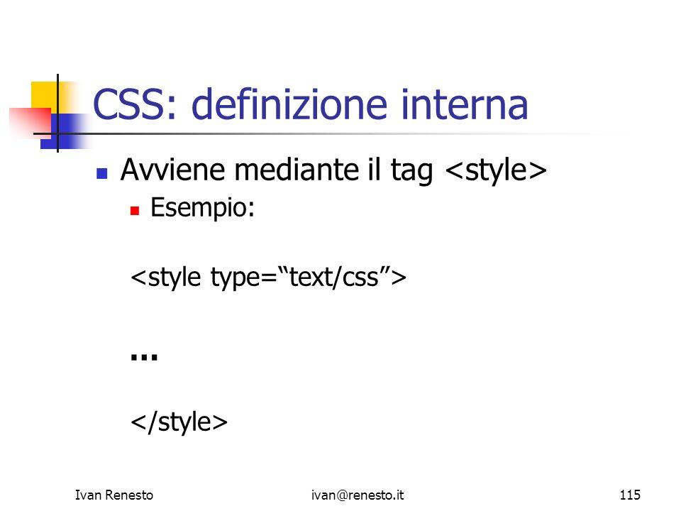CSS: definizione interna