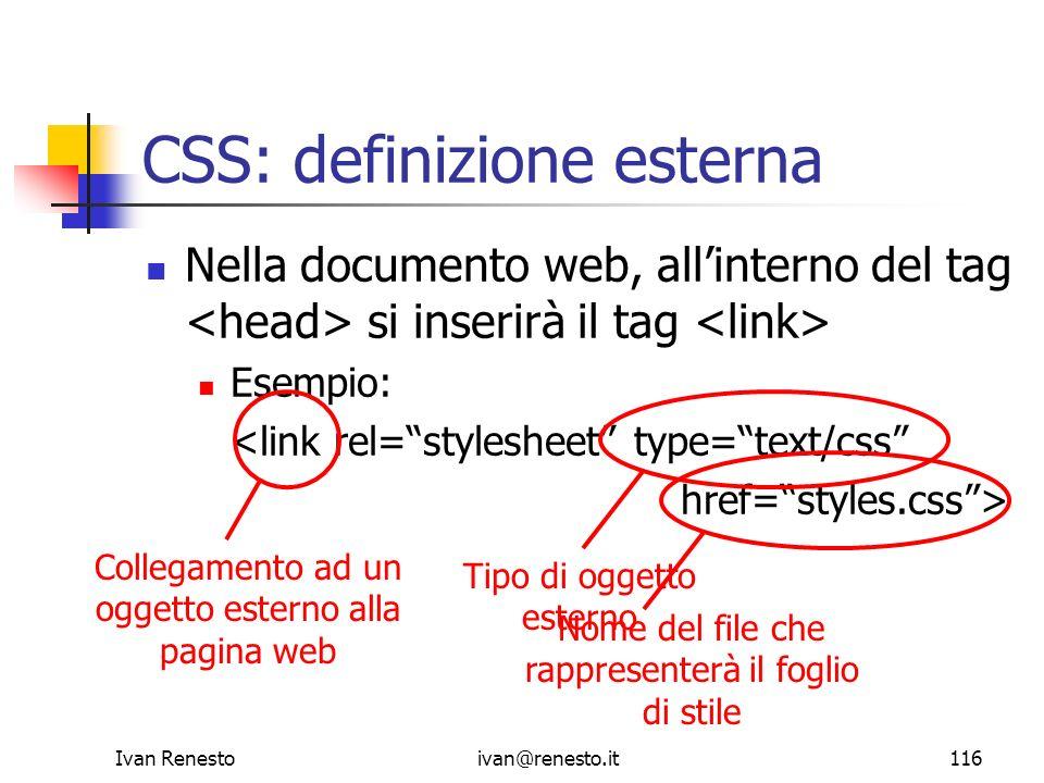 CSS: definizione esterna