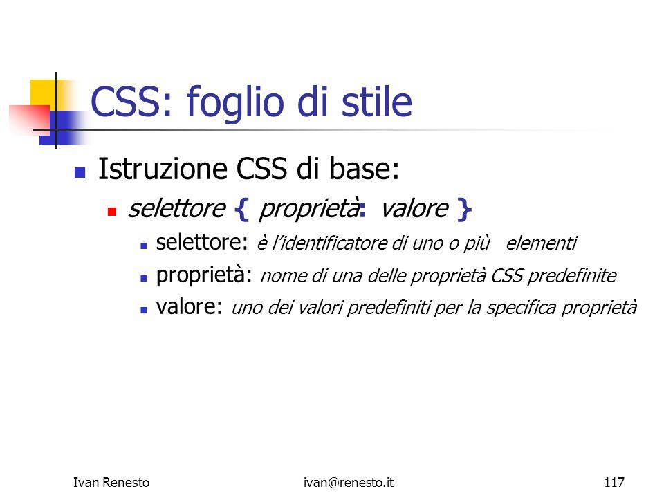 CSS: foglio di stile Istruzione CSS di base: