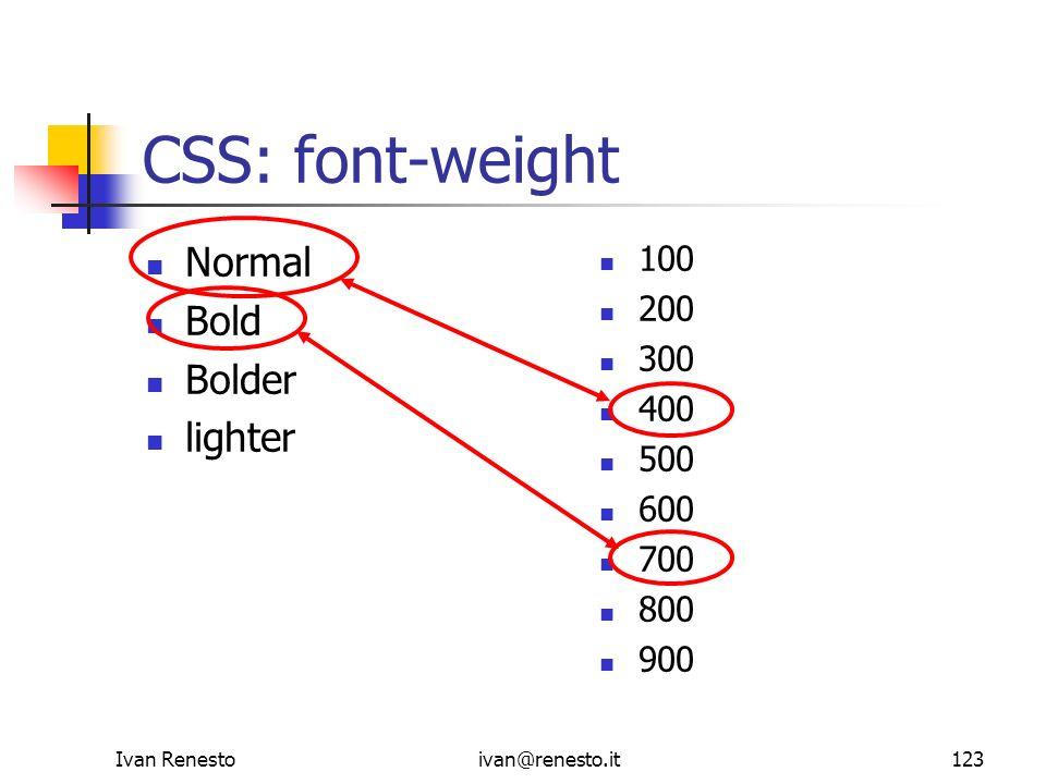 CSS: font-weight Normal Bold Bolder lighter 100 200 300 400 500 600