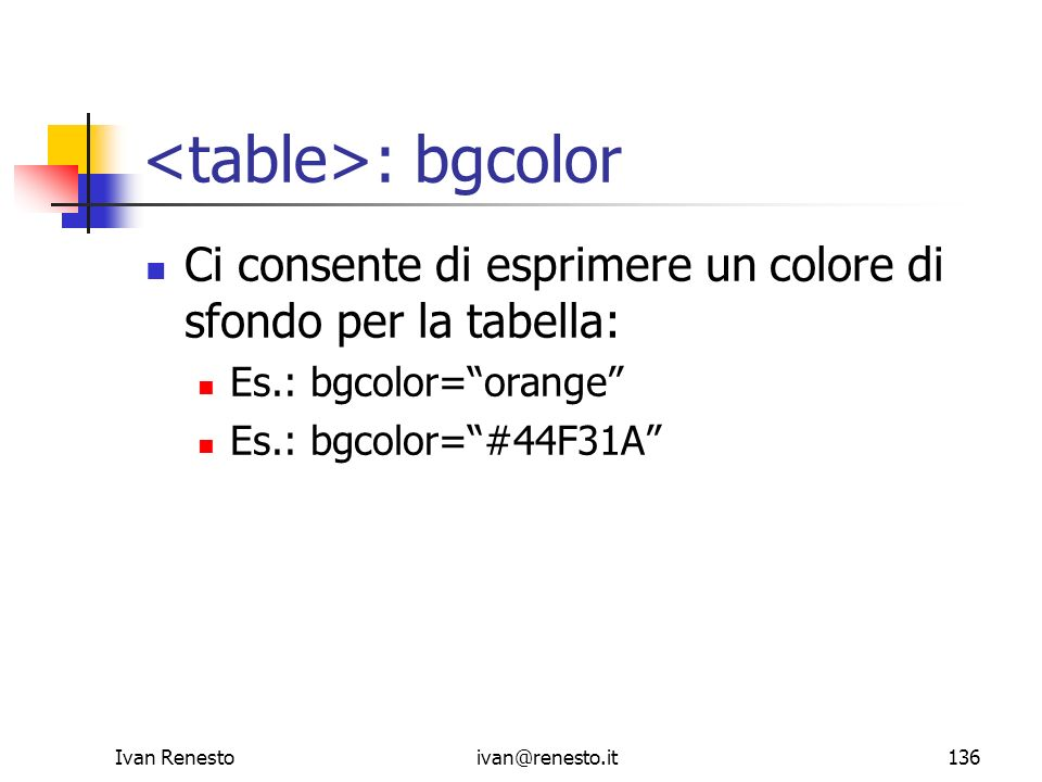 <table>: bgcolor