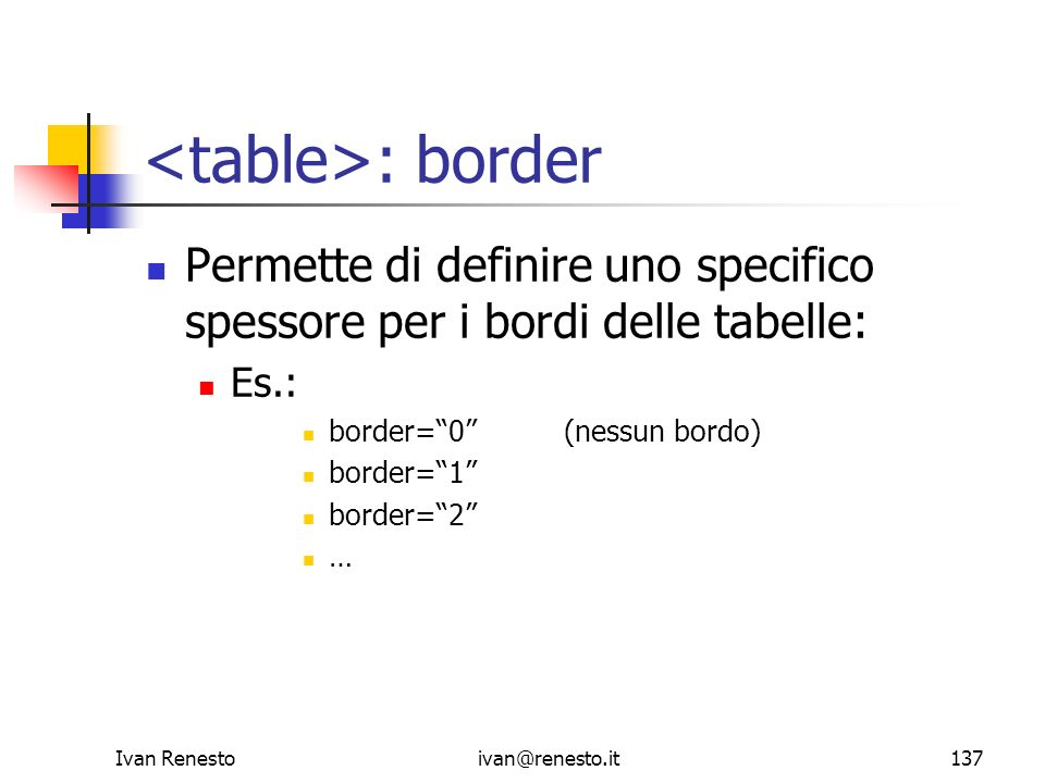 <table>: border