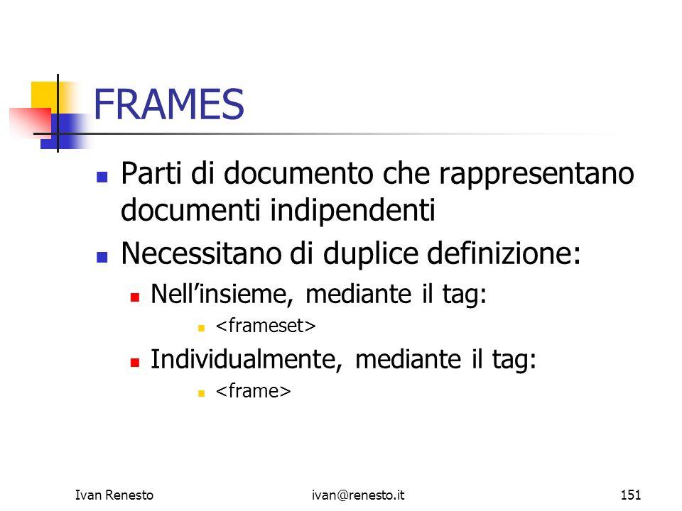 FRAMES Parti di documento che rappresentano documenti indipendenti