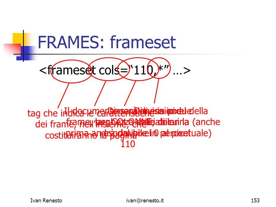 FRAMES: frameset <frameset cols= 110,* …>