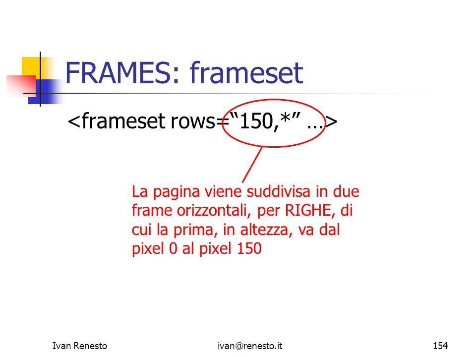 FRAMES: frameset <frameset rows= 150,* …>