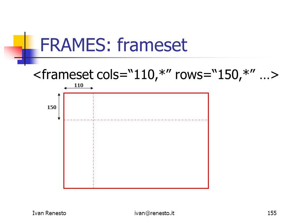 FRAMES: frameset <frameset cols= 110,* rows= 150,* …>