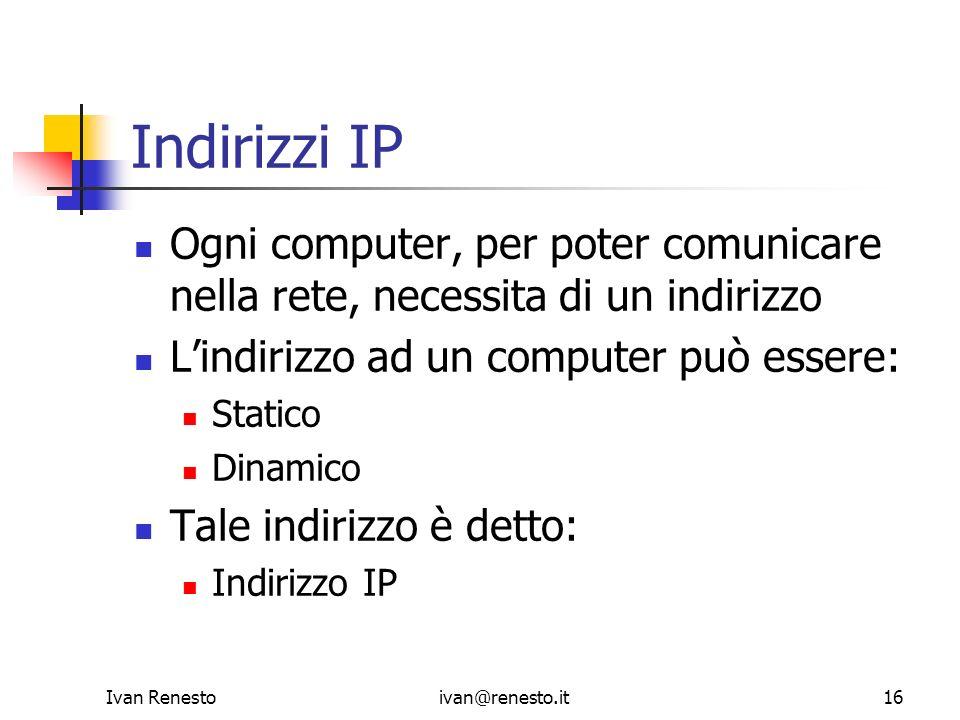 Indirizzi IP Ogni computer, per poter comunicare nella rete, necessita di un indirizzo. L'indirizzo ad un computer può essere: