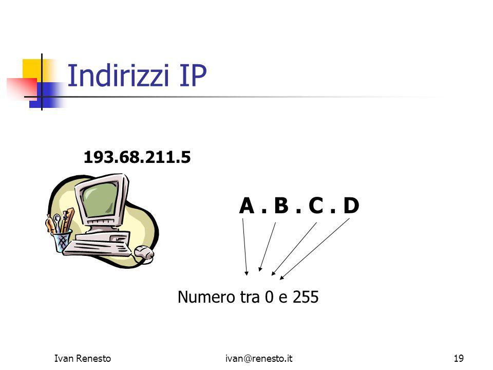 Indirizzi IP A . B . C . D 193.68.211.5 Numero tra 0 e 255