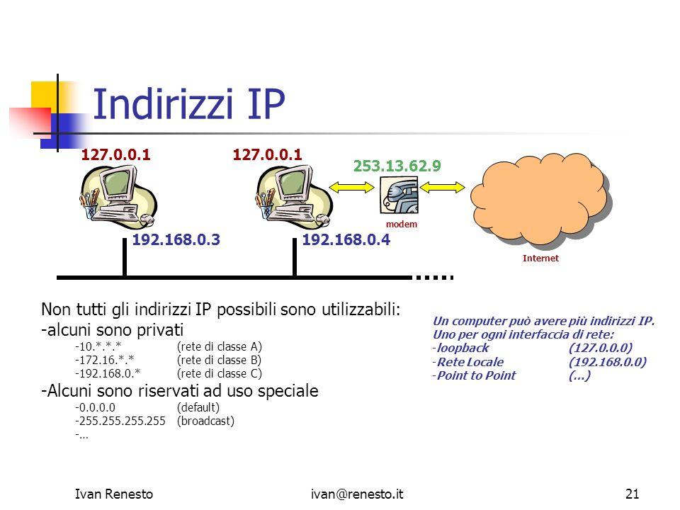 Indirizzi IP Non tutti gli indirizzi IP possibili sono utilizzabili: