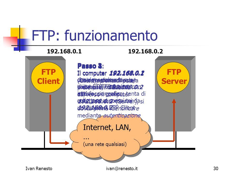 FTP: funzionamento FTP Client FTP Server Internet, LAN, … Passo 2: