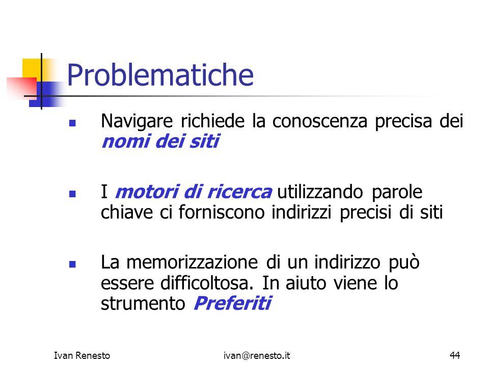 Problematiche Navigare richiede la conoscenza precisa dei nomi dei siti.