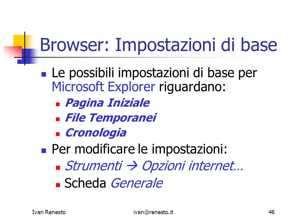 Browser: Impostazioni di base