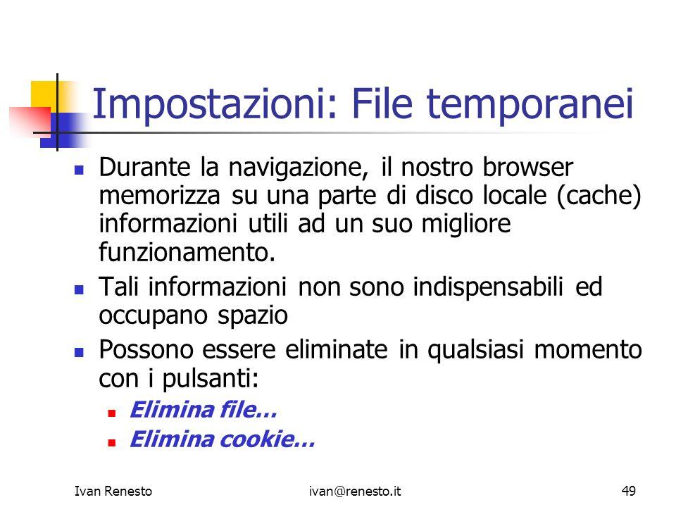 Impostazioni: File temporanei