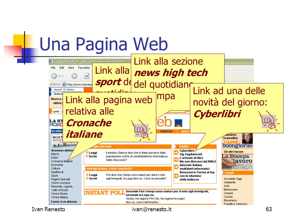 Una Pagina Web Link alla sezione news high tech del quotidiano