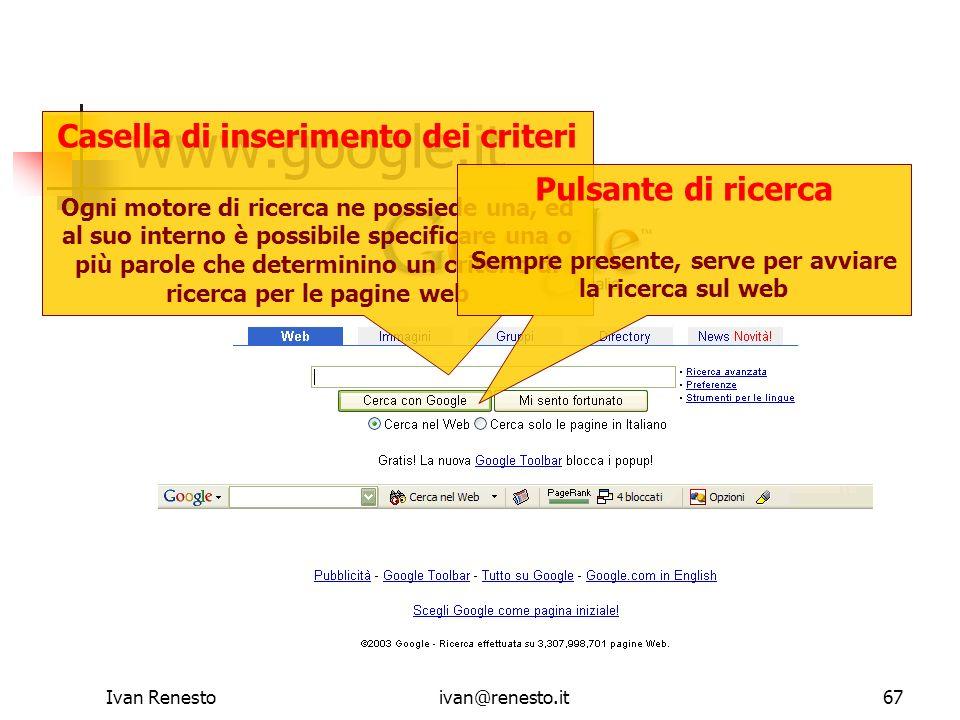 www.google.it Casella di inserimento dei criteri Pulsante di ricerca