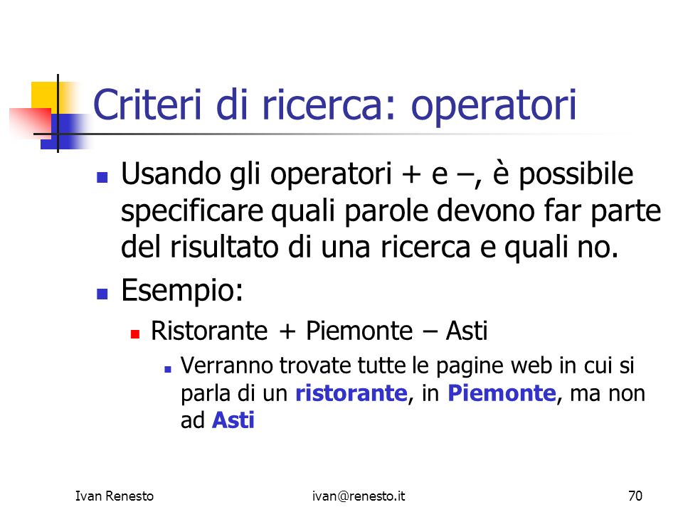 Criteri di ricerca: operatori