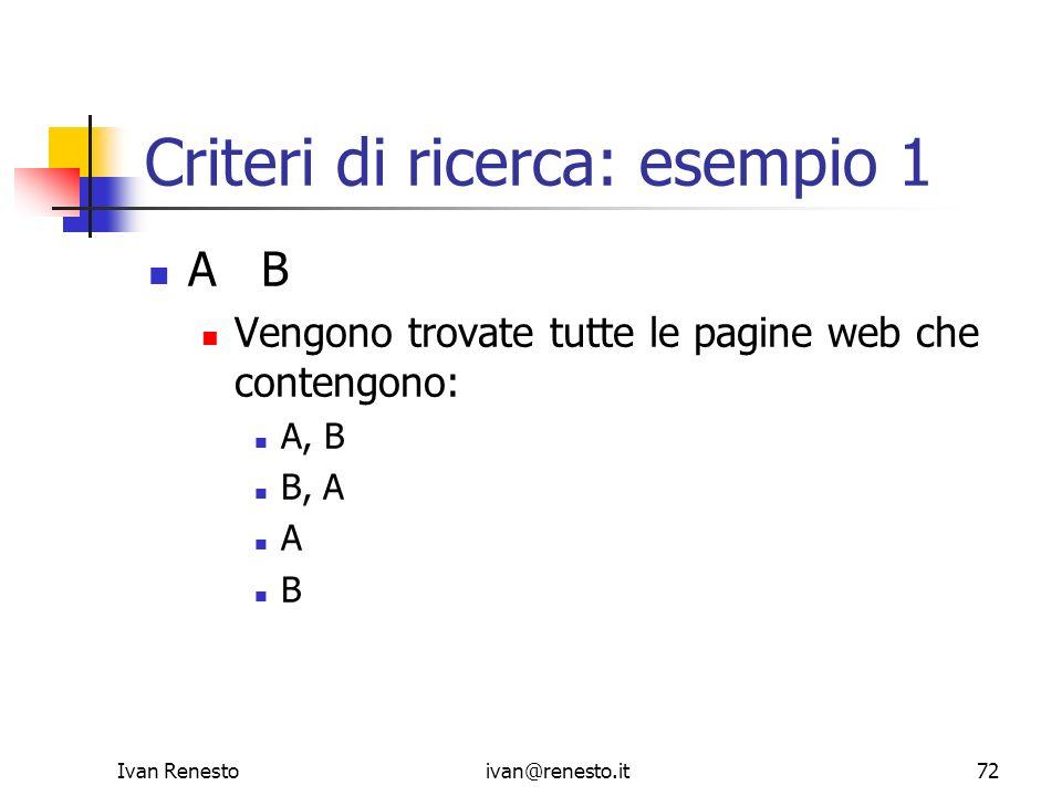 Criteri di ricerca: esempio 1