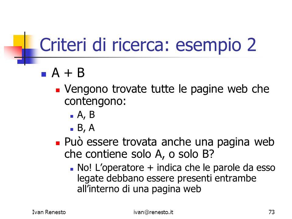 Criteri di ricerca: esempio 2