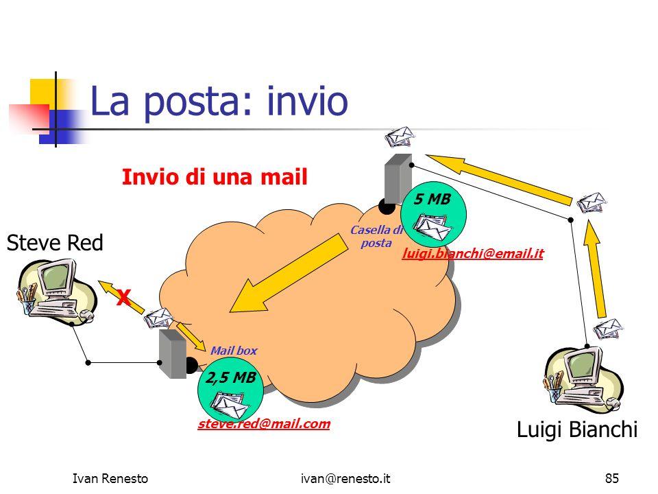 La posta: invio Invio di una mail Steve Red X Luigi Bianchi 5 MB