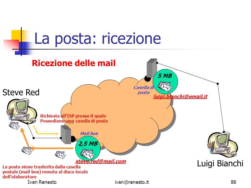 La posta: ricezione Ricezione delle mail Steve Red Luigi Bianchi 5 MB
