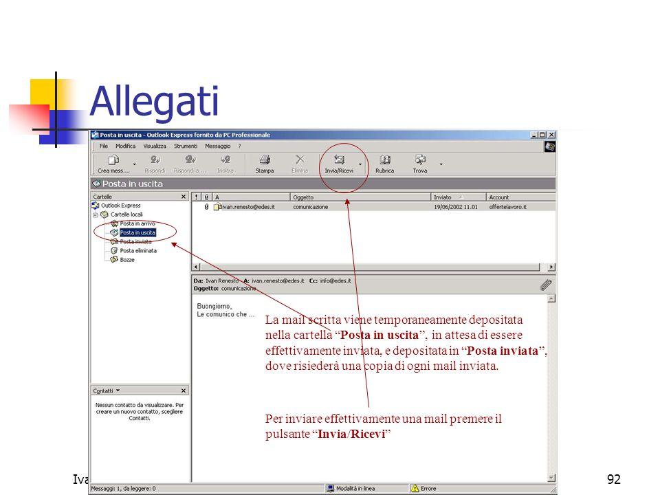 Allegati La mail scritta viene temporaneamente depositata