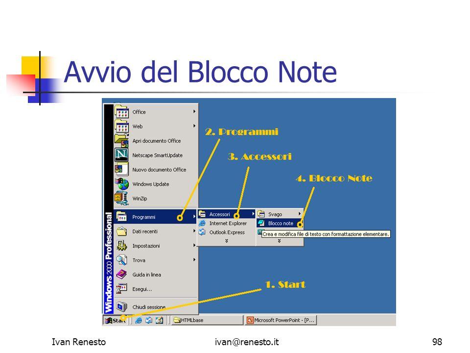 Avvio del Blocco Note Ivan Renesto ivan@renesto.it