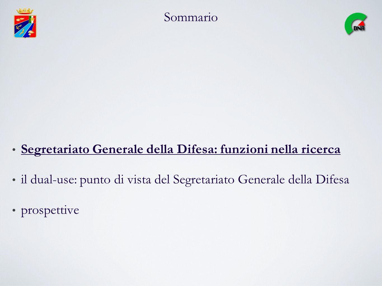 Sommario Segretariato Generale della Difesa: funzioni nella ricerca. il dual-use: punto di vista del Segretariato Generale della Difesa.
