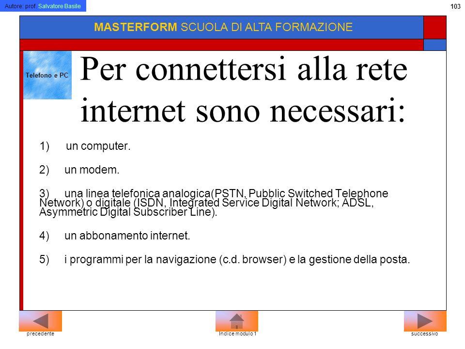 Per connettersi alla rete internet sono necessari: