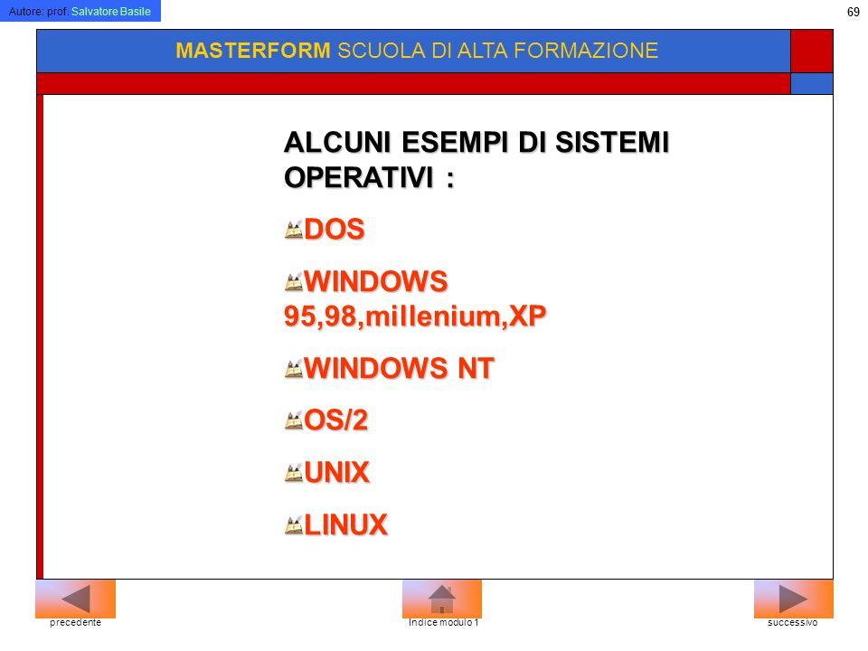 ALCUNI ESEMPI DI SISTEMI OPERATIVI : DOS WINDOWS 95,98,millenium,XP