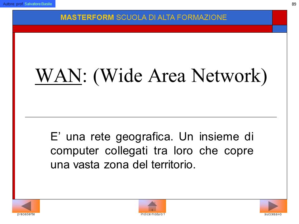 WAN: (Wide Area Network)