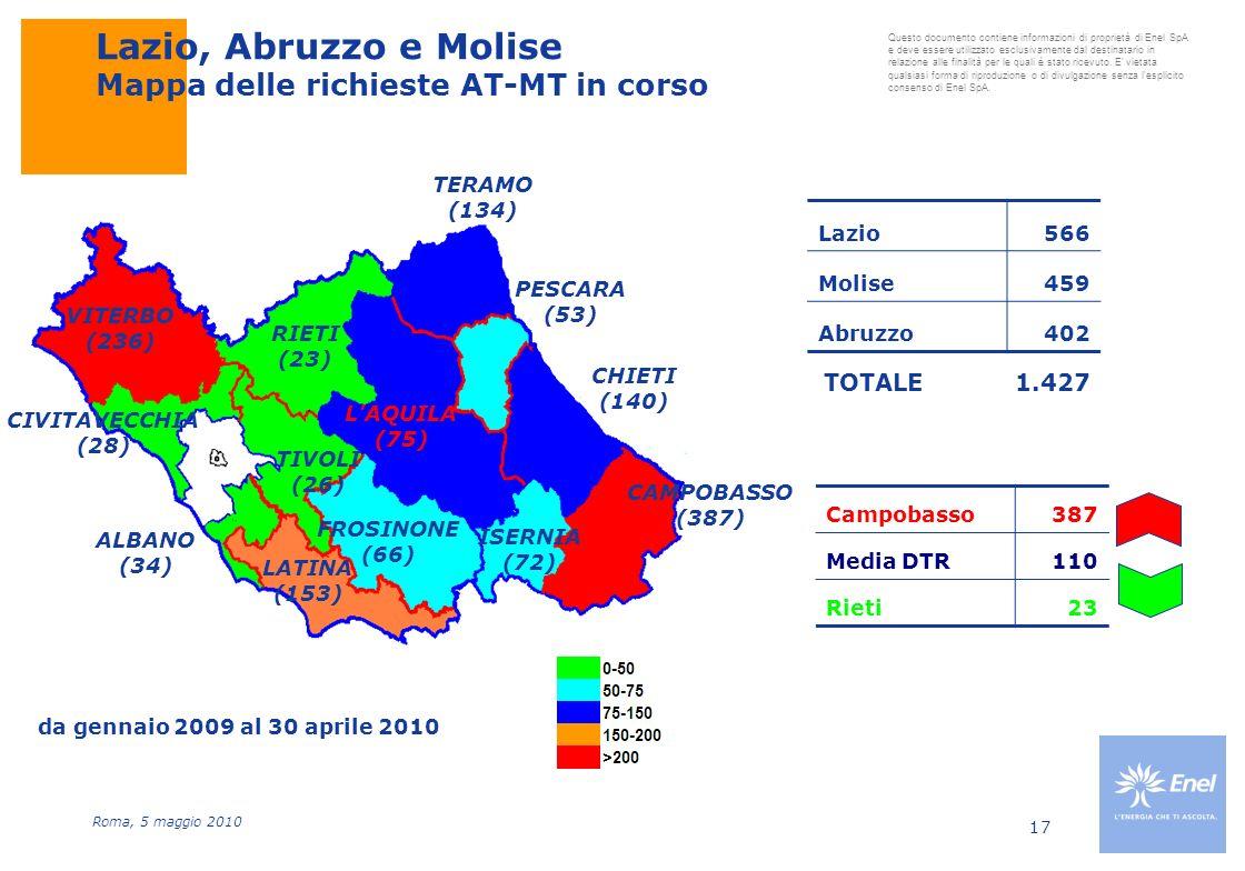 Lazio, Abruzzo e Molise Mappa delle richieste AT-MT in corso