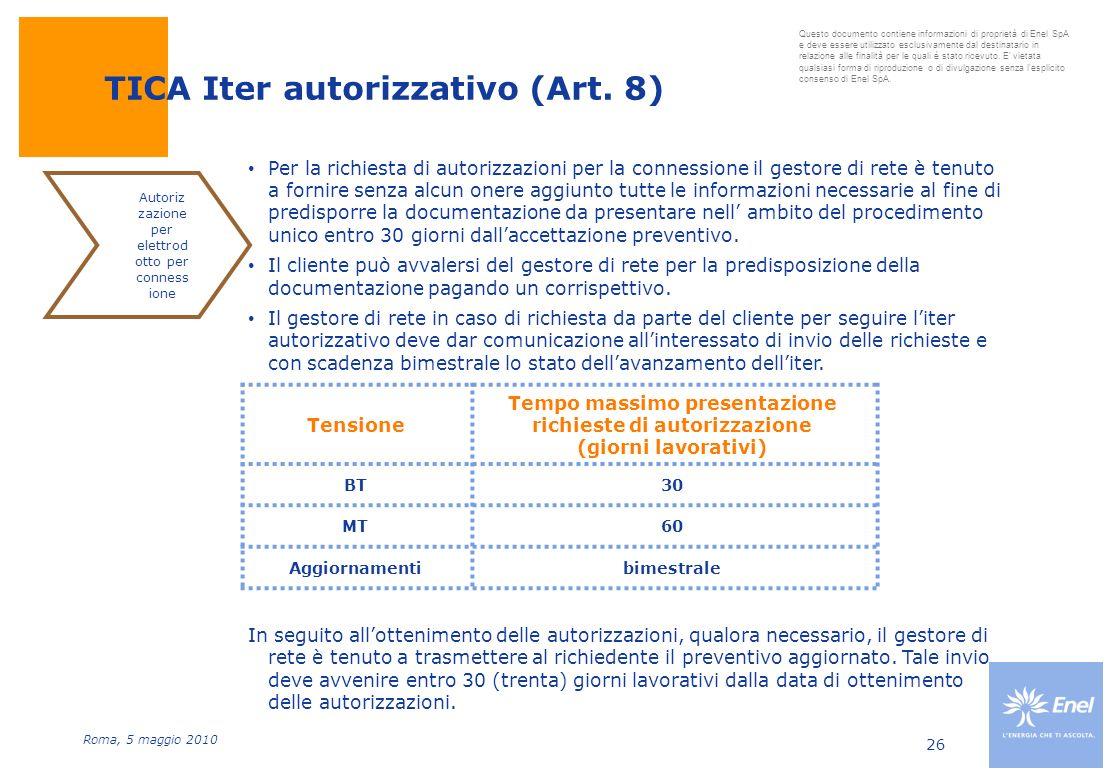 TICA Iter autorizzativo (Art. 8)