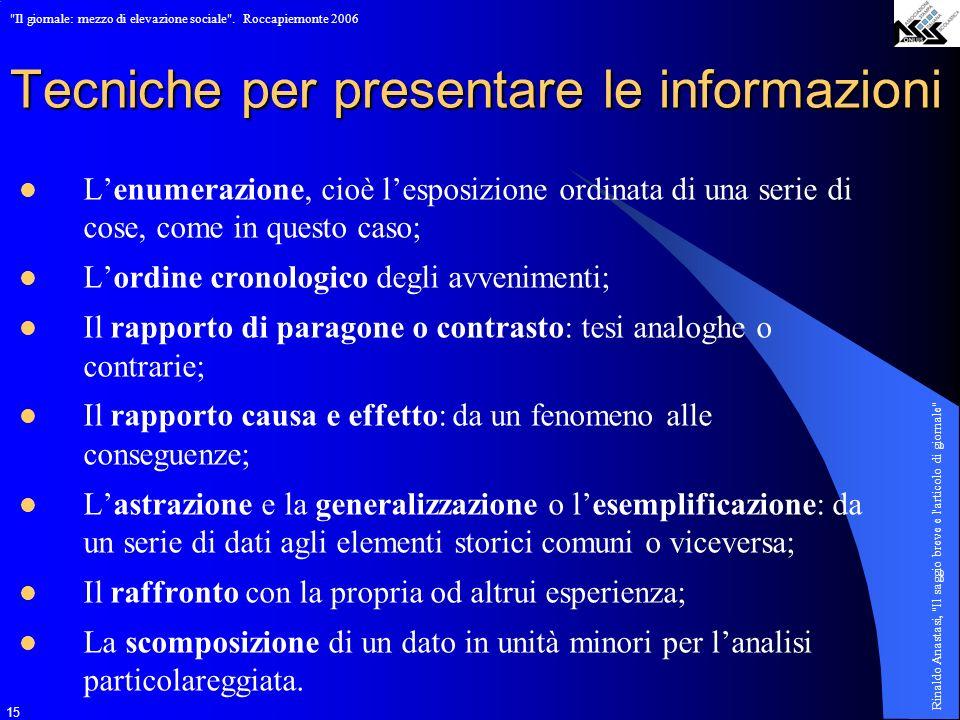 Tecniche per presentare le informazioni