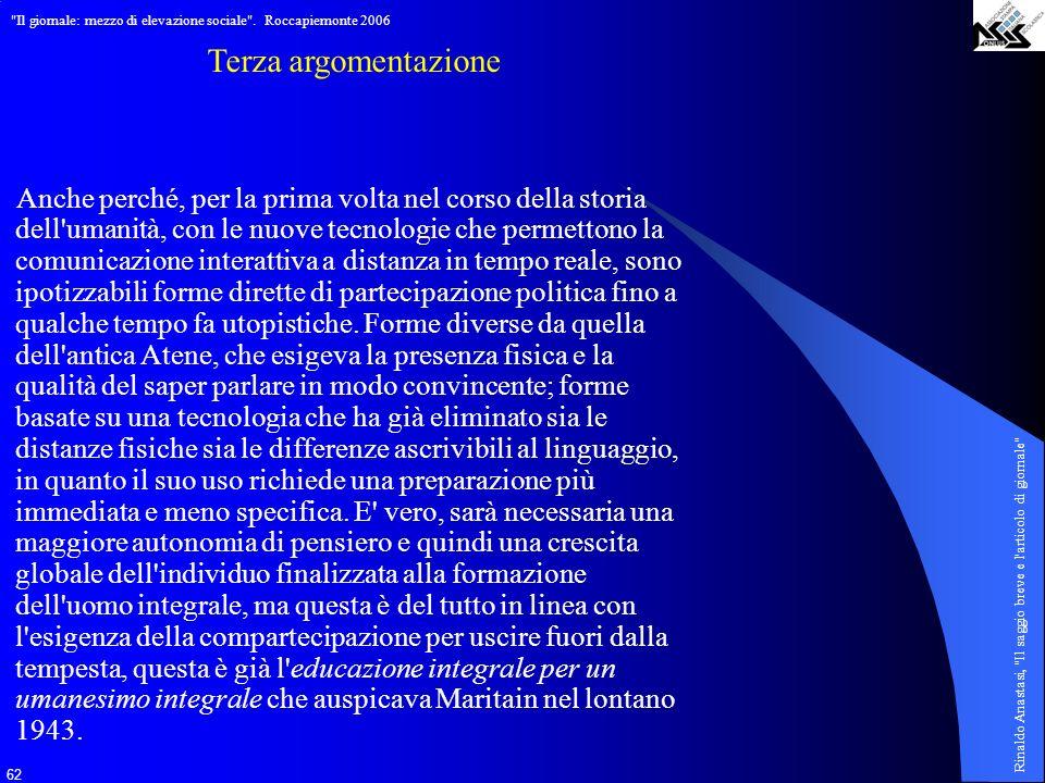Il giornale: mezzo di elevazione sociale . Roccapiemonte 2006