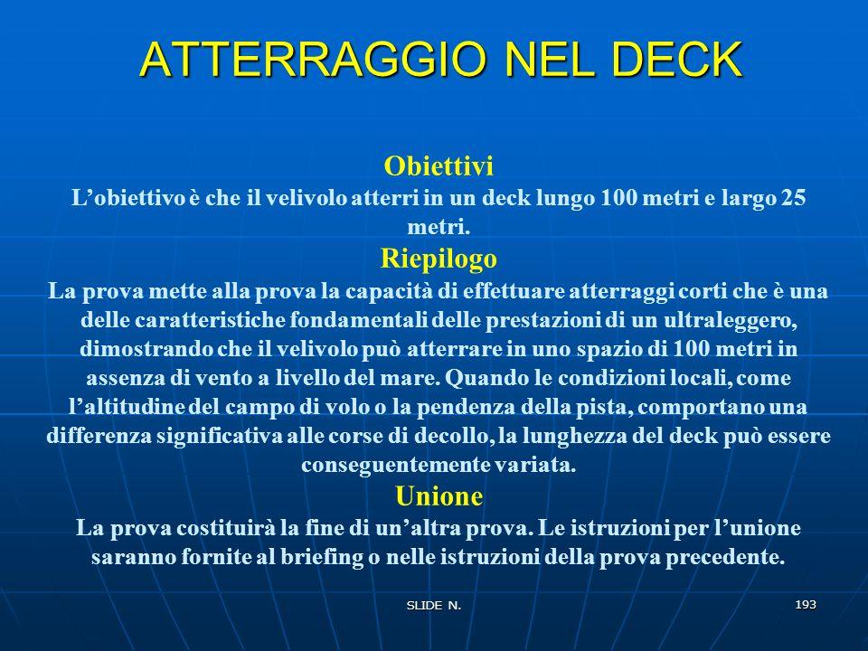 ATTERRAGGIO NEL DECK Obiettivi Riepilogo Unione