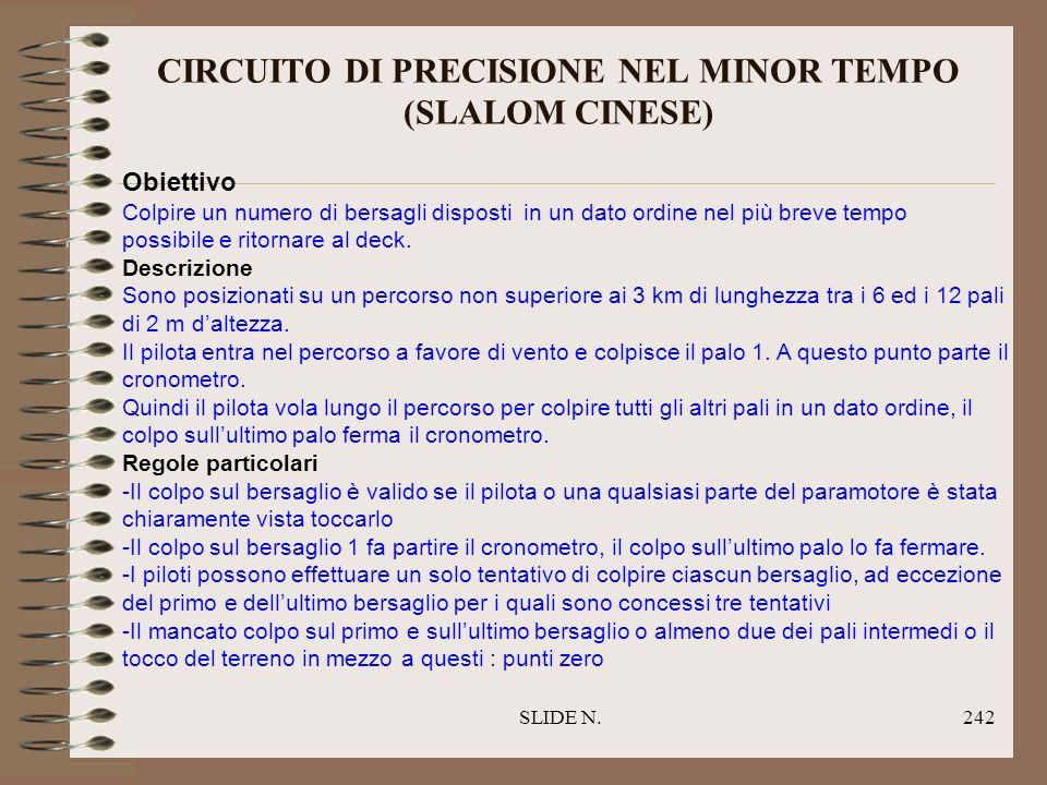 CIRCUITO DI PRECISIONE NEL MINOR TEMPO (SLALOM CINESE)