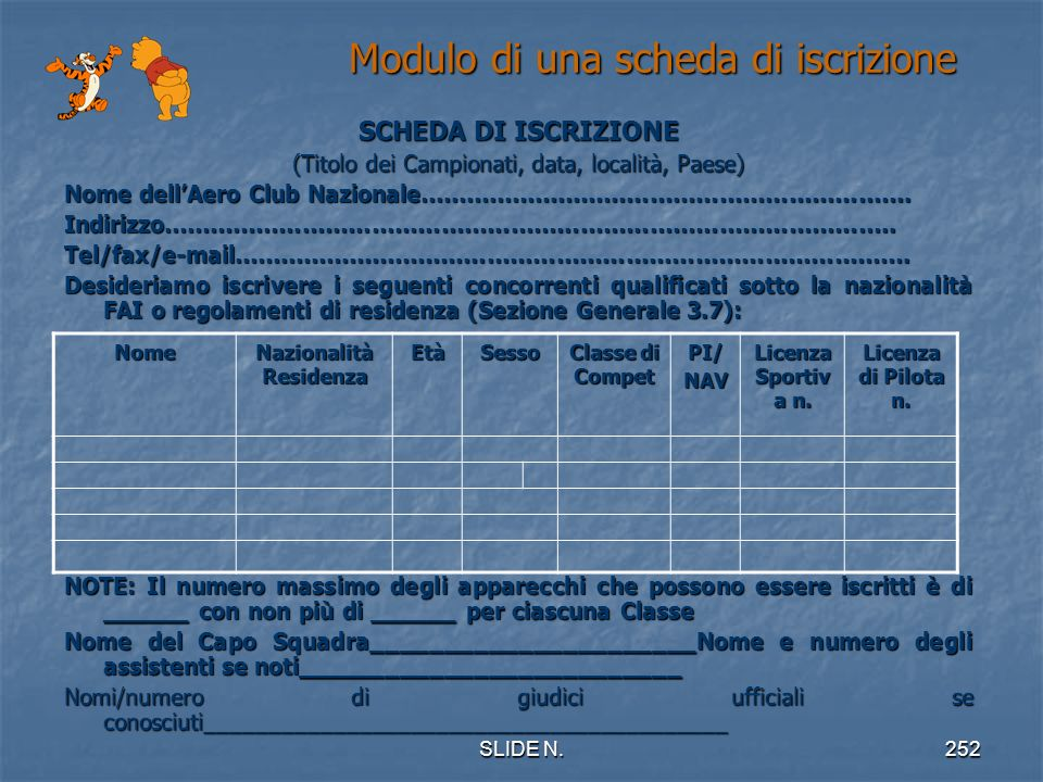 Modulo di una scheda di iscrizione