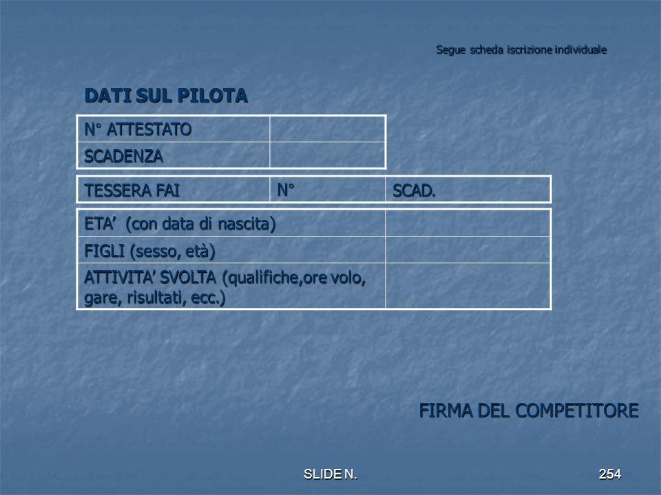 Segue scheda iscrizione individuale