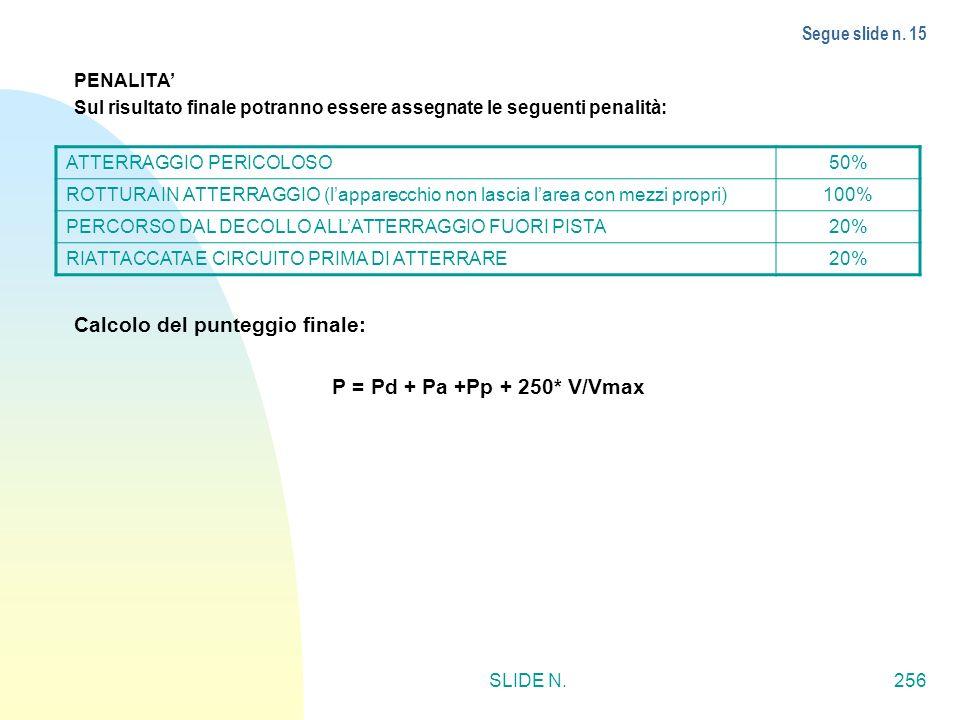 Calcolo del punteggio finale: P = Pd + Pa +Pp + 250* V/Vmax