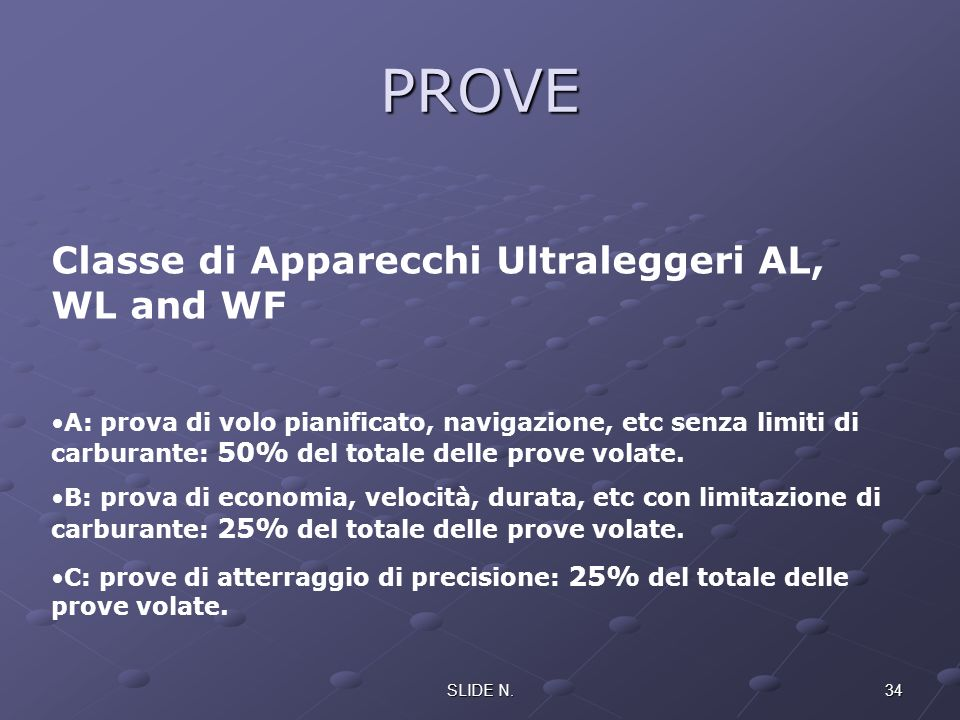 PROVE Classe di Apparecchi Ultraleggeri AL, WL and WF