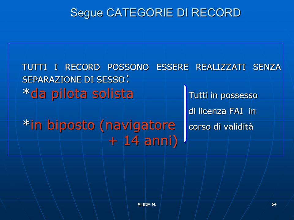 Segue CATEGORIE DI RECORD