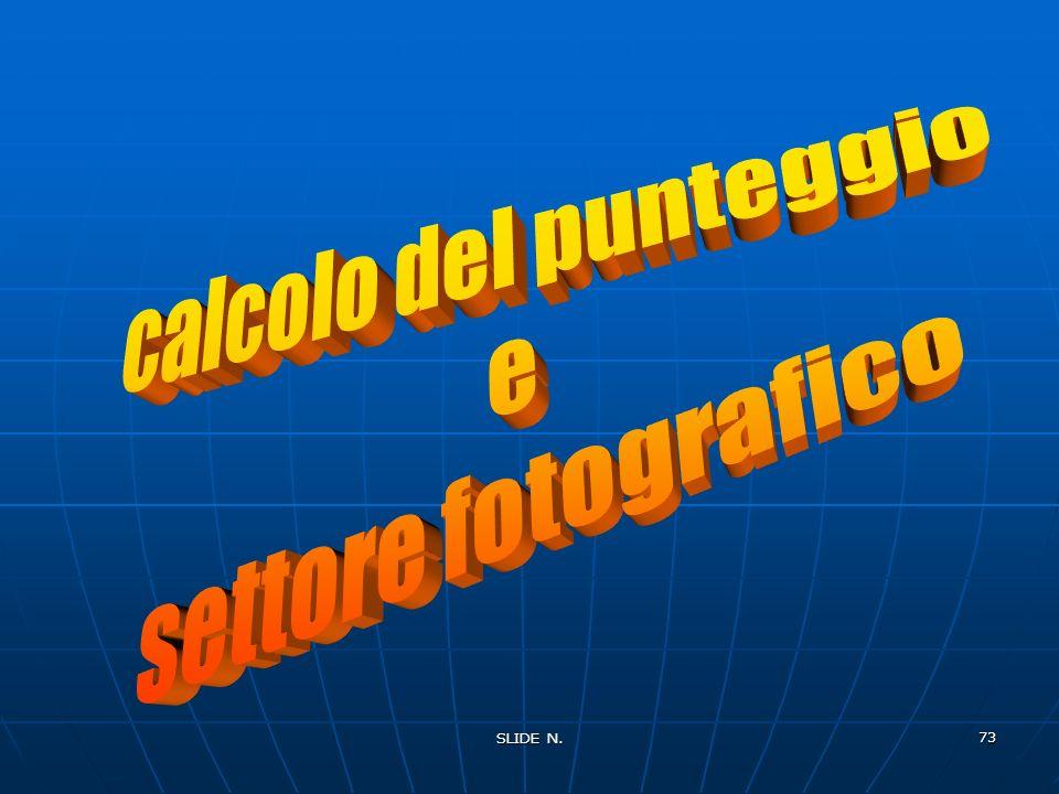 calcolo del punteggio e settore fotografico SLIDE N.
