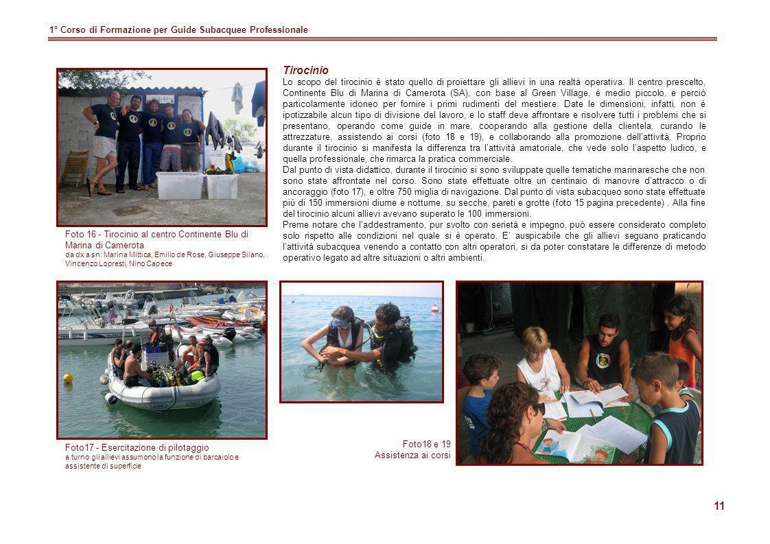 Tirocinio 1° Corso di Formazione per Guide Subacquee Professionale